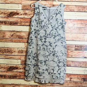 Dressbarn Tiered Silver/Gray Floral Dress